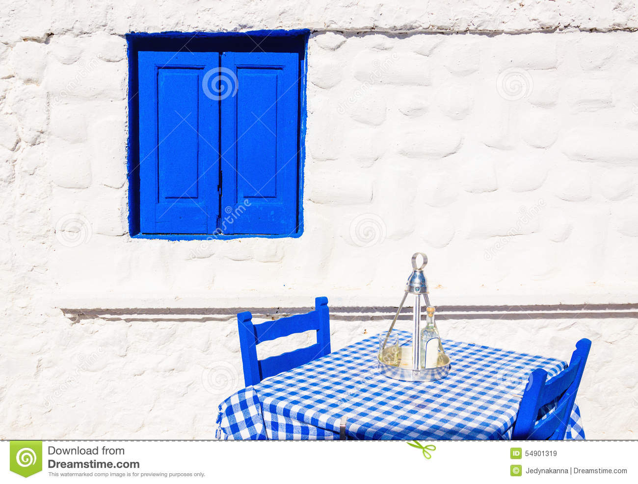Greek Restaurant With Blue Tablecloth, Greece Stock Photo ...