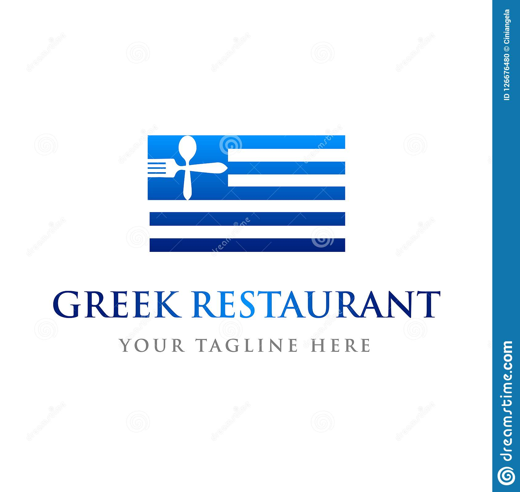 Greek Restaurant Flag Logo Template Stock Vector Illustration Of Modern Menu 126676480