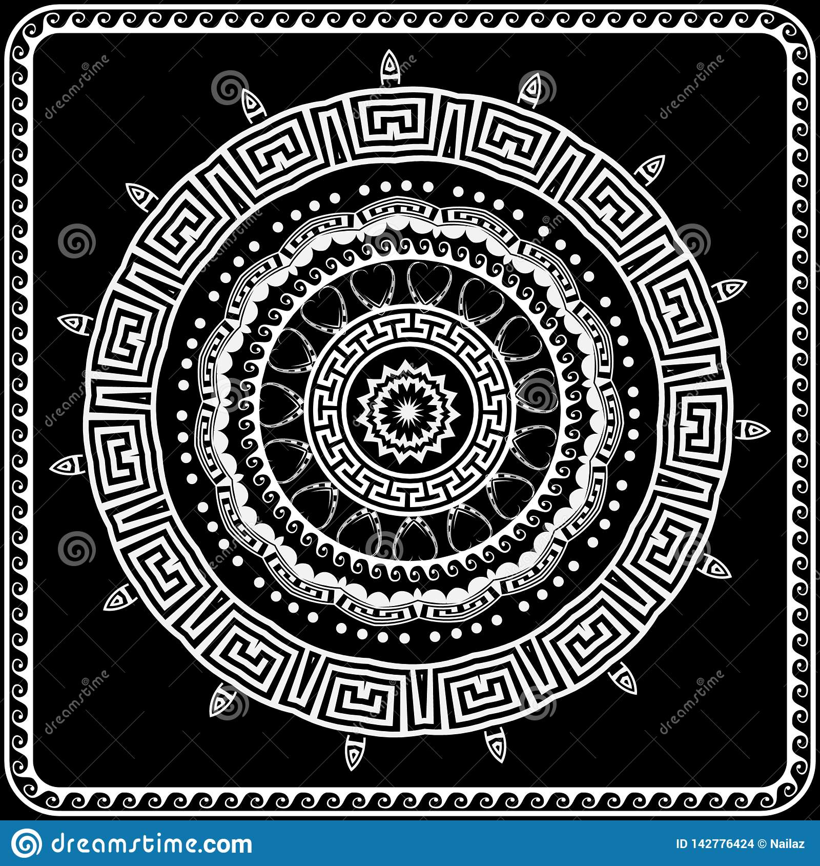Greek round vector mandala pattern. Black and white greek key meanders ornament with geometric shapes, wave lines, frame, dots.