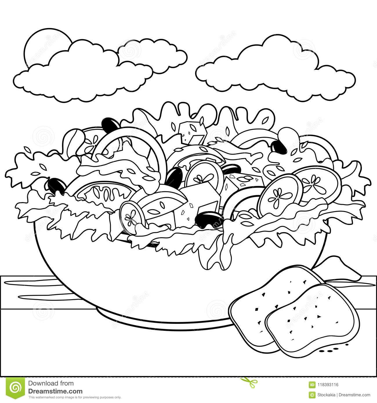 A delicious bowl of salad in a table next to the sea black and white coloring book page