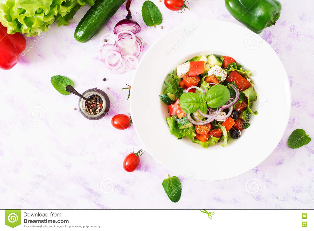 Cucumber with Feta and Herb Salad