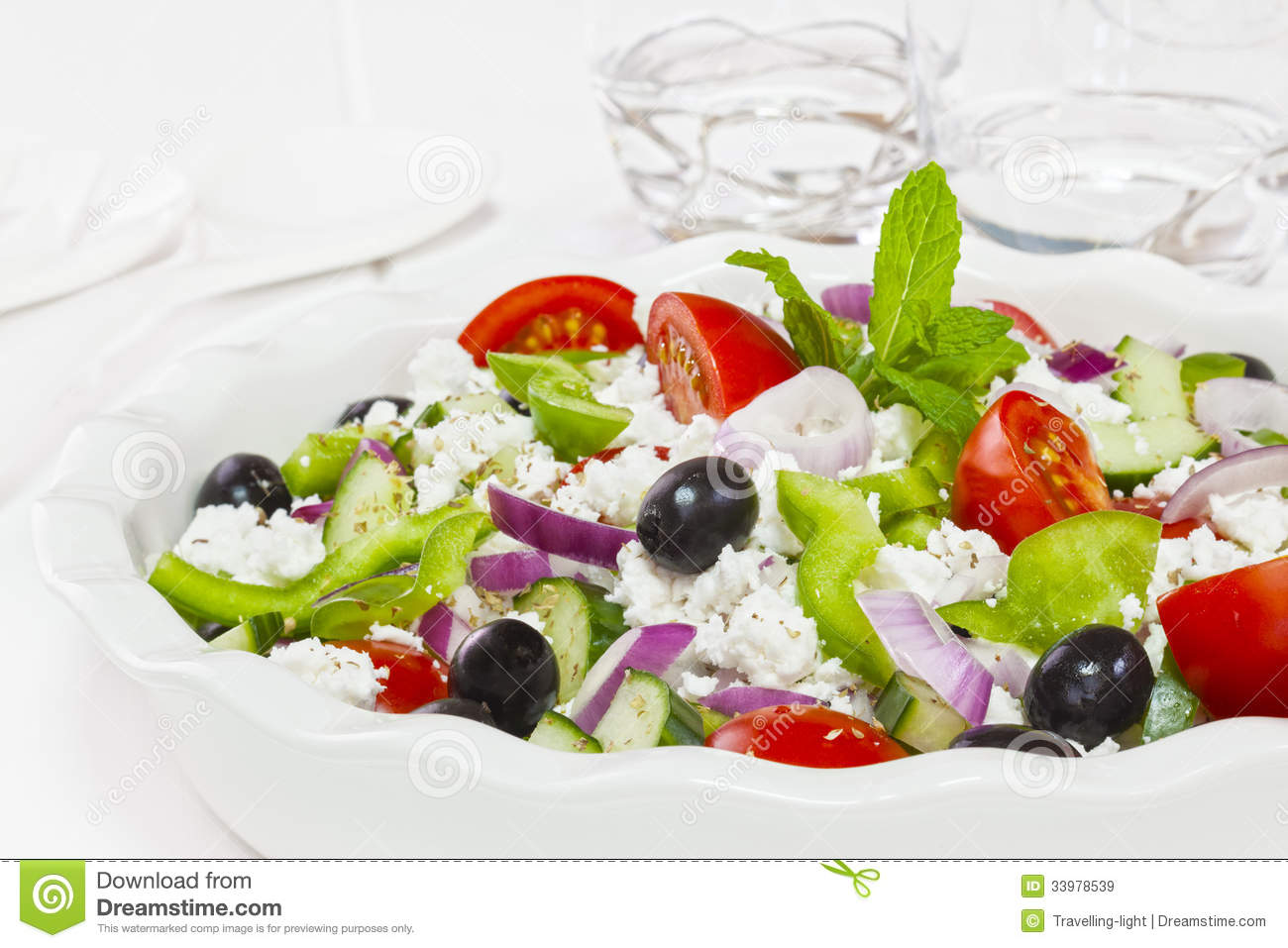 Greek salad, popular salad made from tomatoes, green pepper, cucumber ...