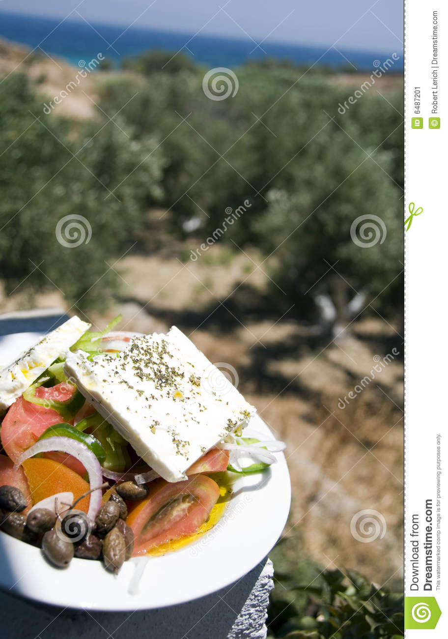 Greek salad view of the farm and sea