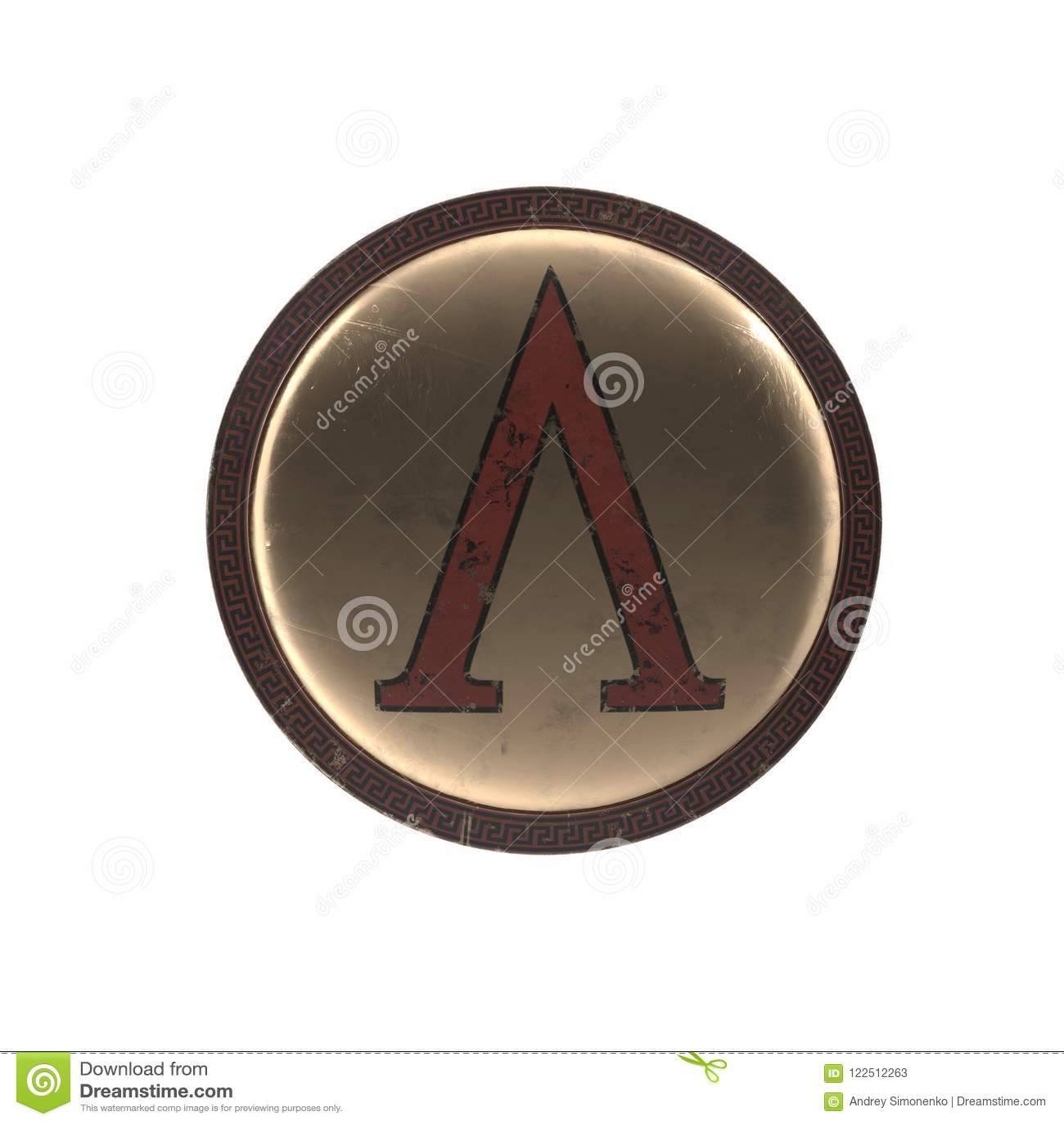 Greek Shield With Upside Down V On White 3d Illustration Stock
