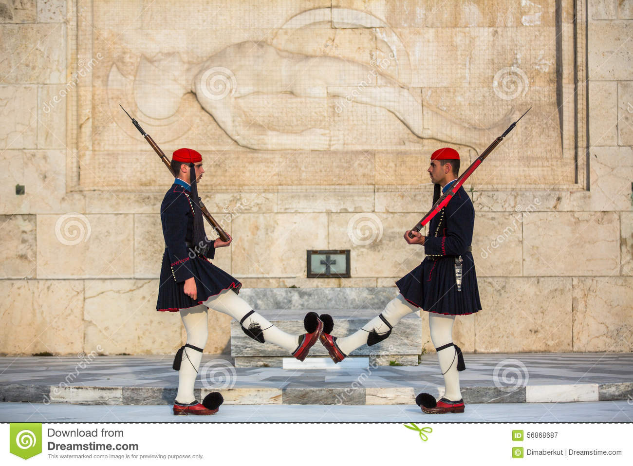 Greek soldiers Evzones dressed in full dress uniform, refers to the members of the Presidential Guard