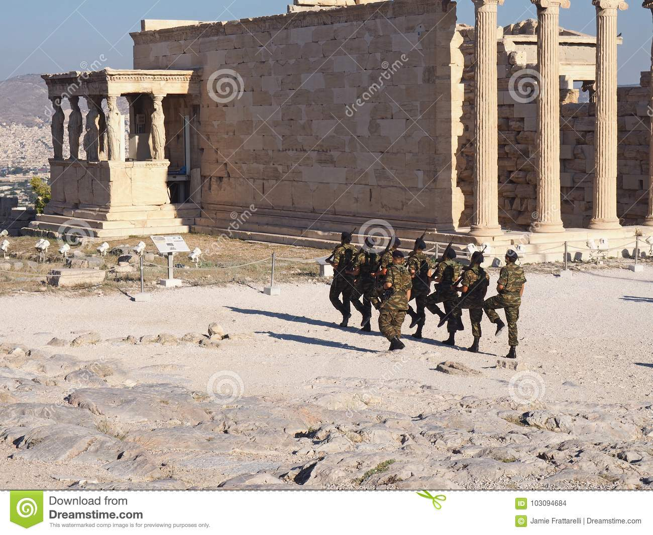 Greek Soldiers march in the Acropolis