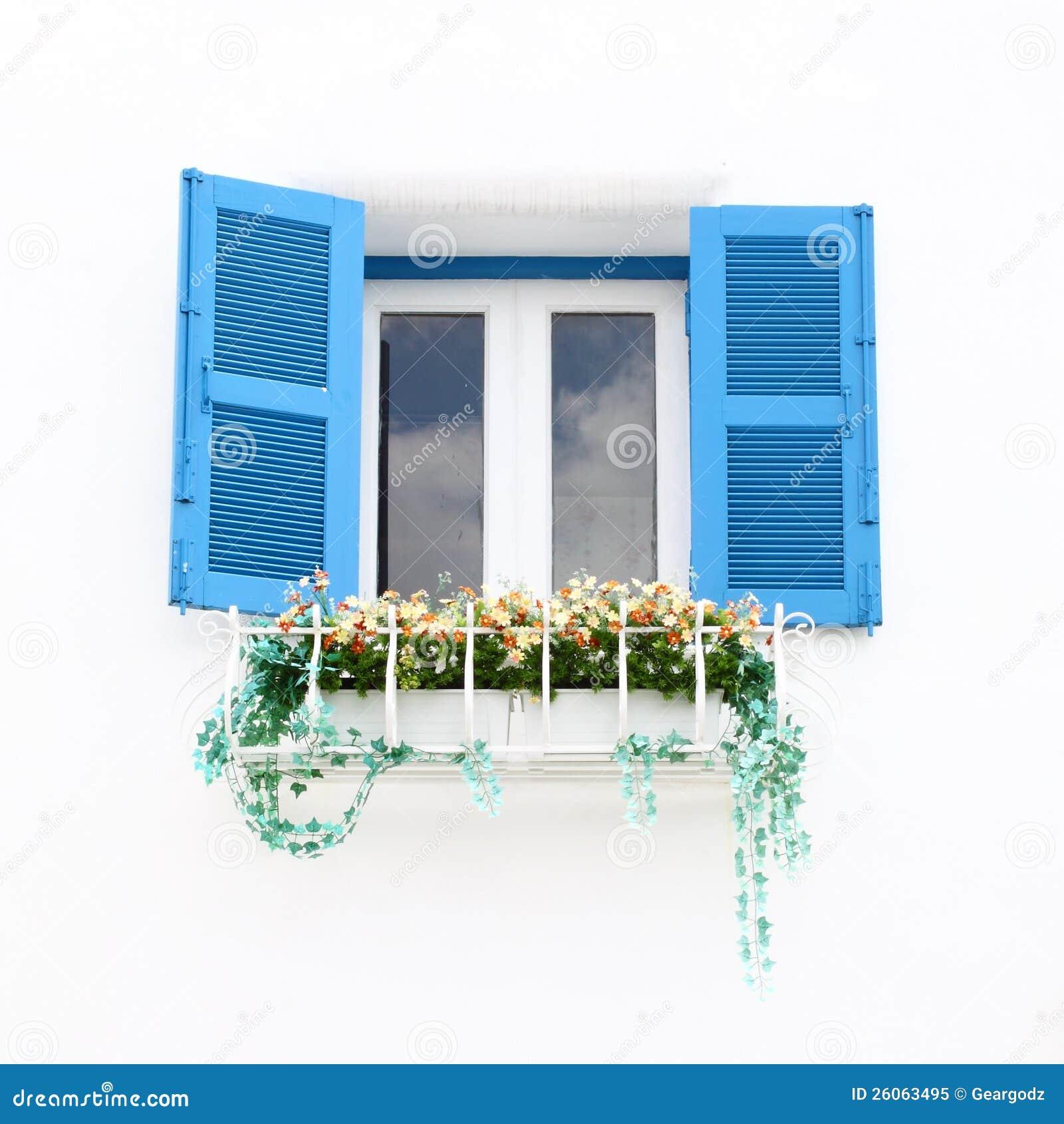 Greek Style Windows And Flower Stock Image Image 26063495