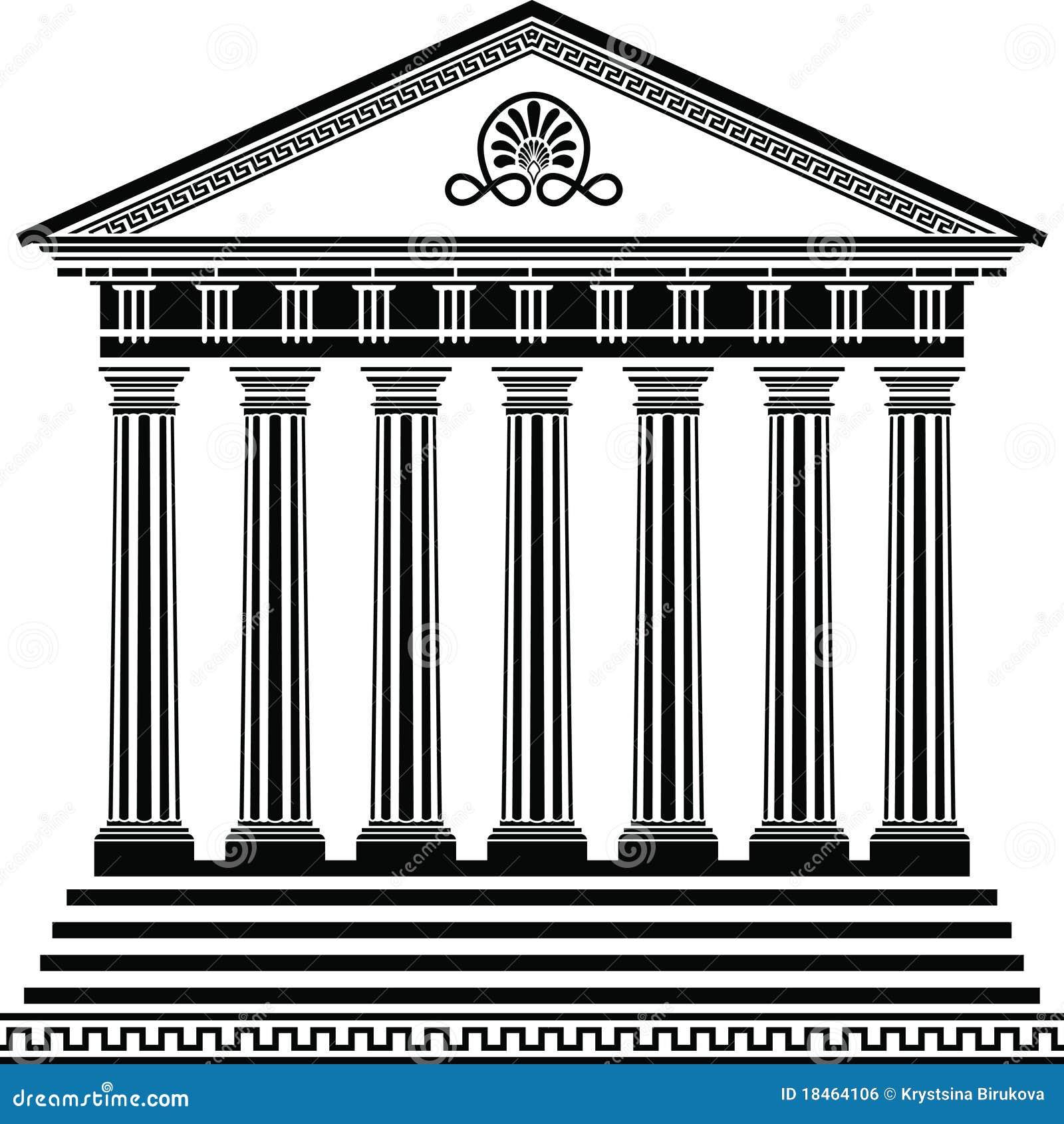 Greek temple stencil second  Greek Architecture Clipart