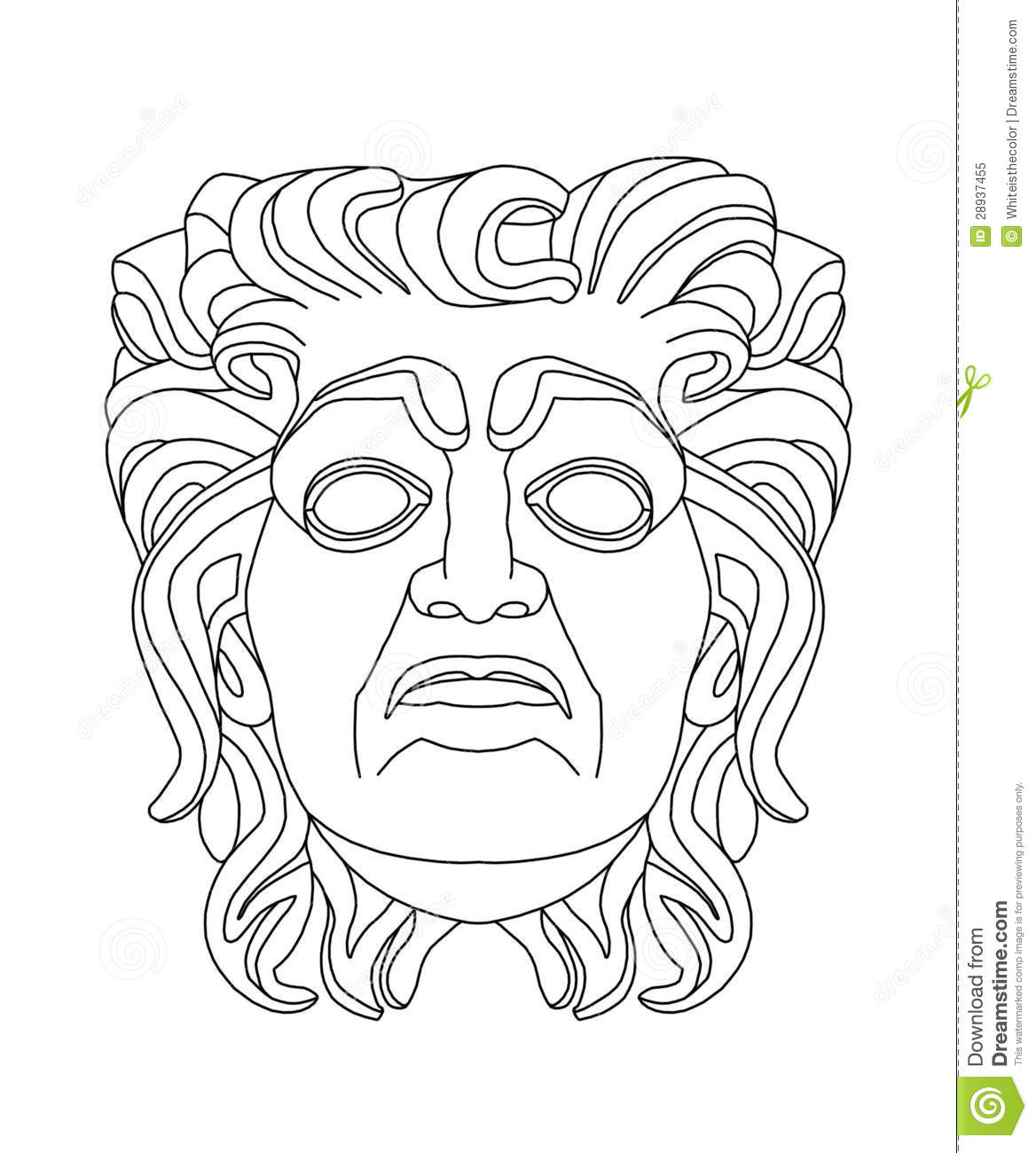 Greek theatrical mask of an old man stock illustration for Ancient greek mask template