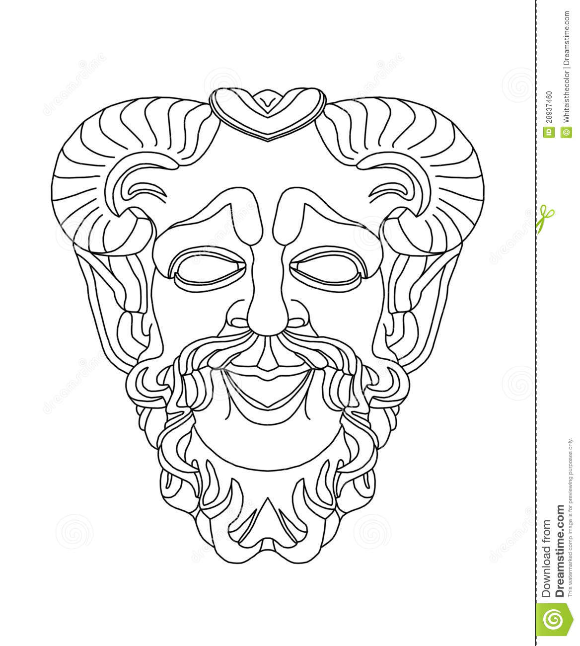 Greek theatrical mask of satyr stock illustration for Ancient greek mask template
