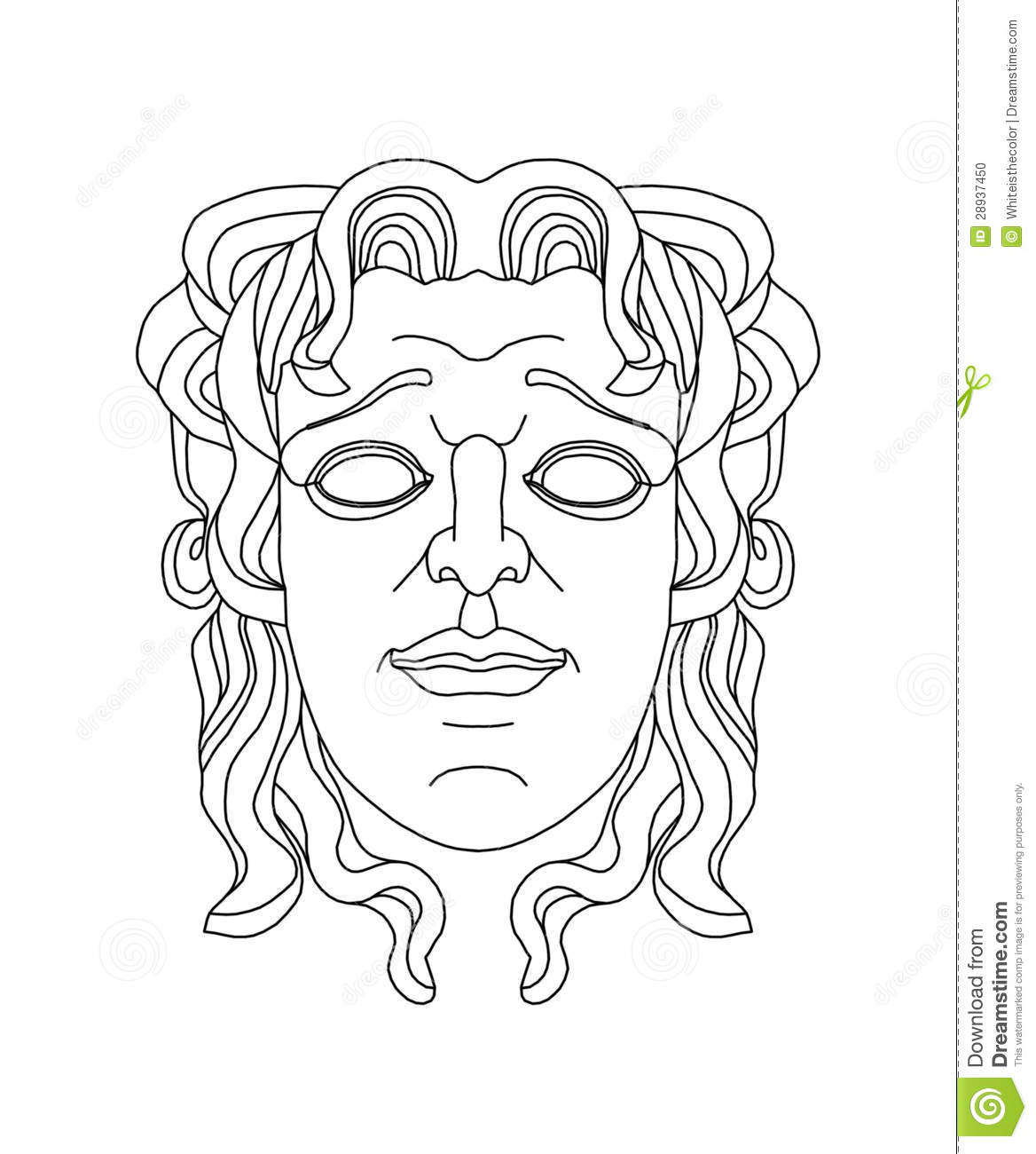 Greek Theatrical Mask Of A Young Man Stock Photo
