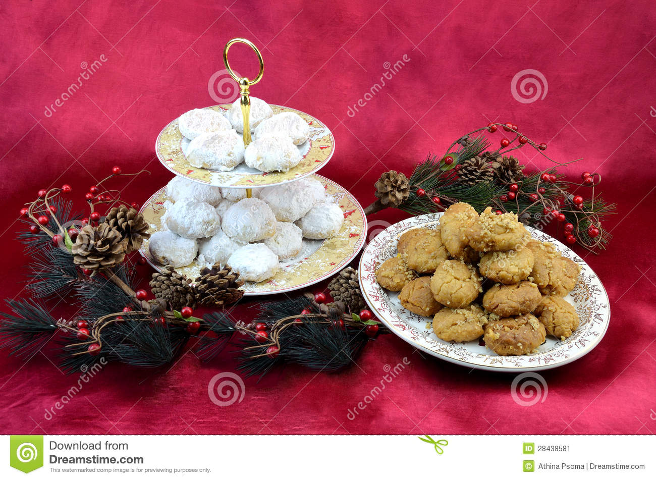 Greek traditional christmas desserts kourabiedes and melomakarona