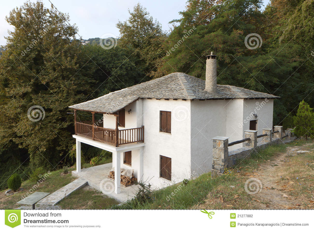 Traditional Greek Houses greek traditional house at pelion, greece stock photography