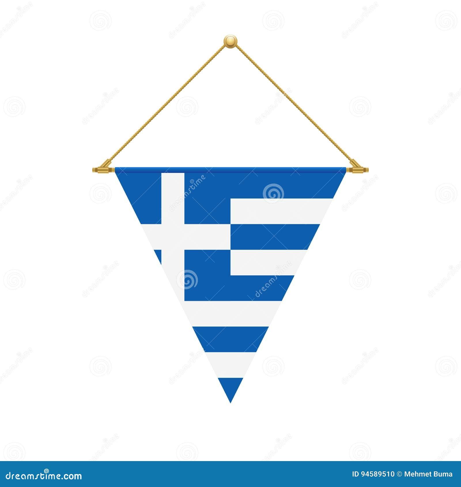 Greek Triangle Flag Hanging Illustration Stock Vector
