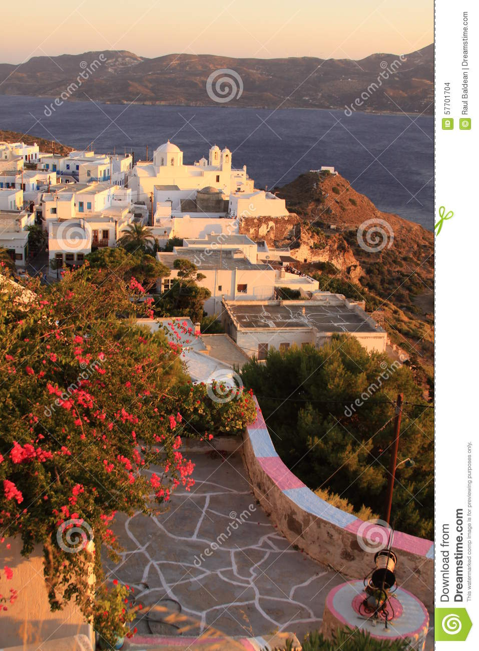 Greek village with church scenery on Milos island 01