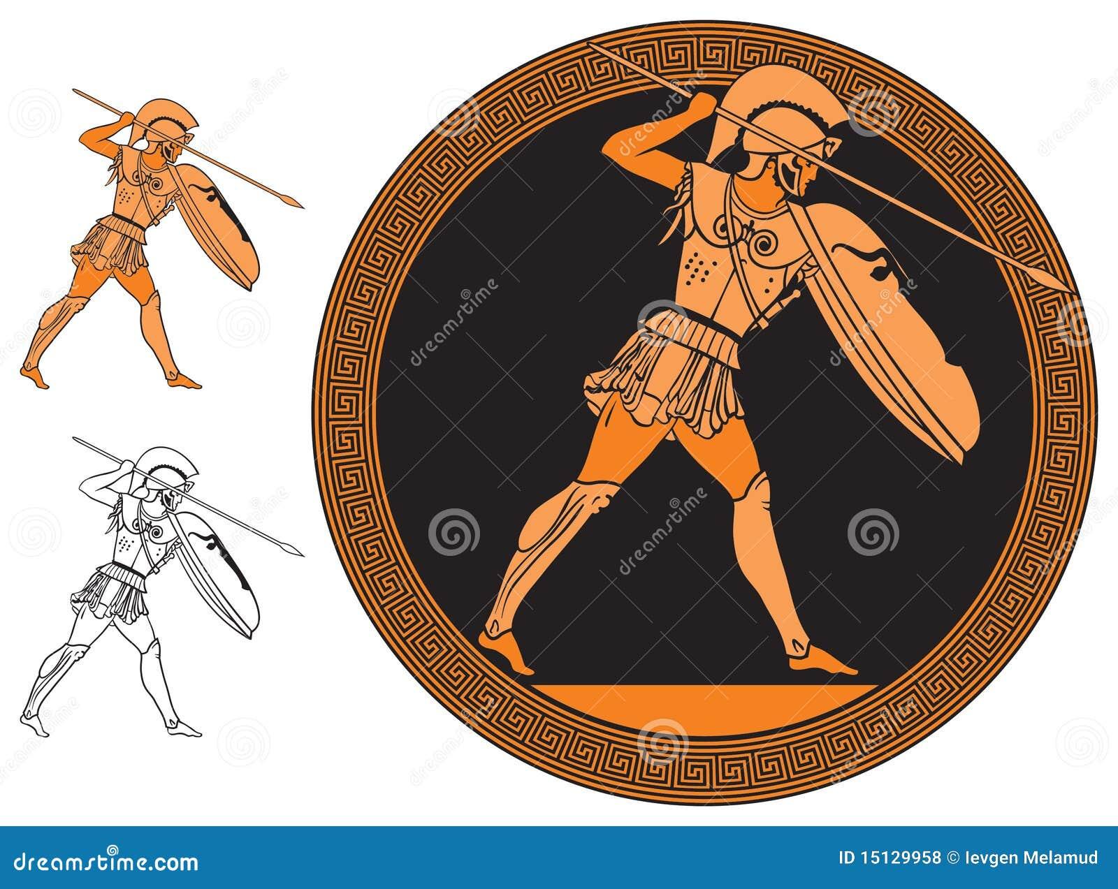 Greek warrior vector image in red figure vase ancient greek painting