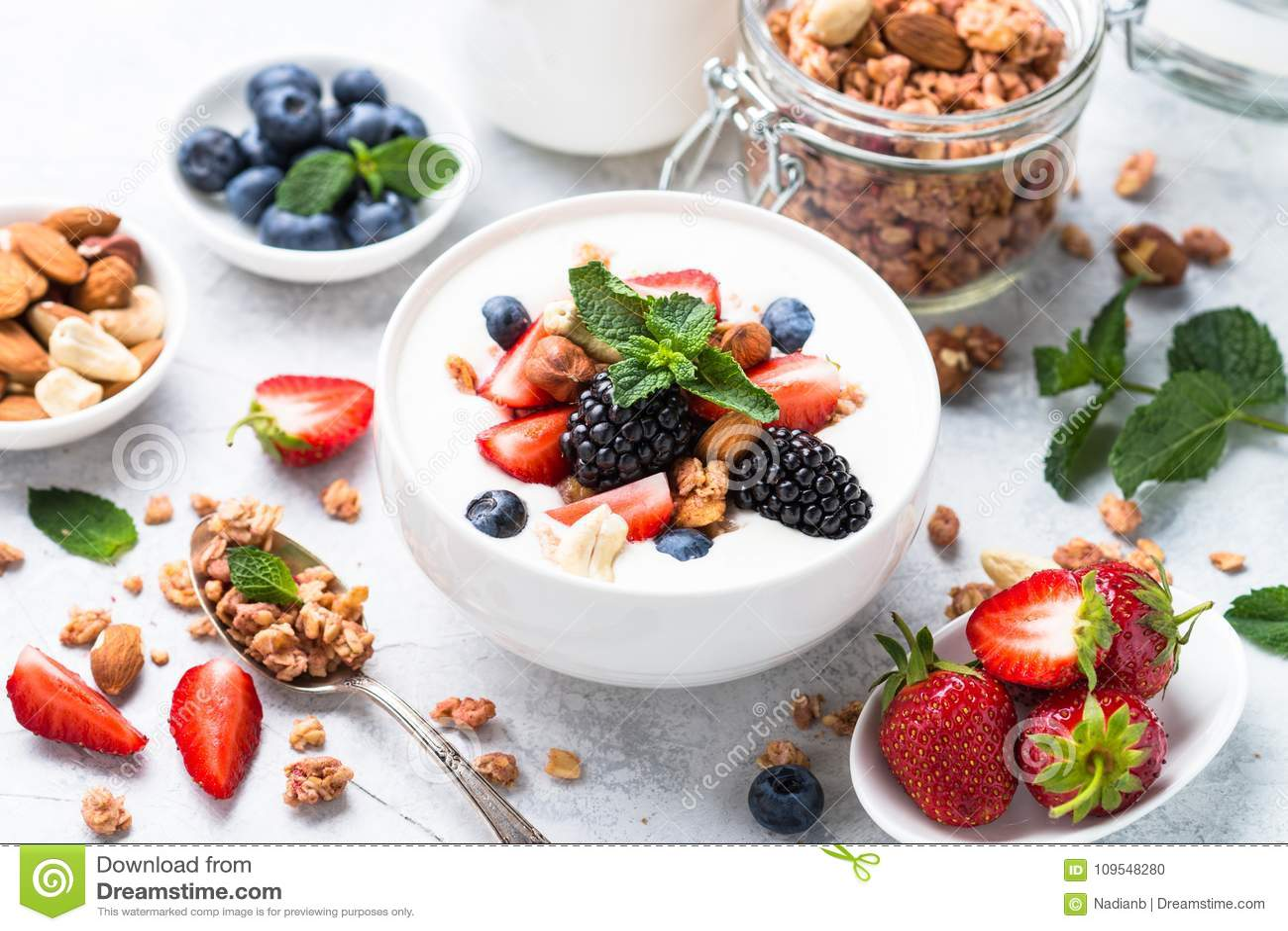Greek yogurt granola and berry mix.