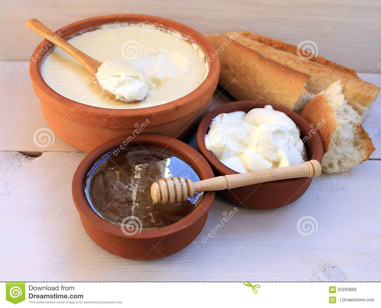 Greek Yogurt Natural Dairy Products In Ceramic Cup, Honey ...