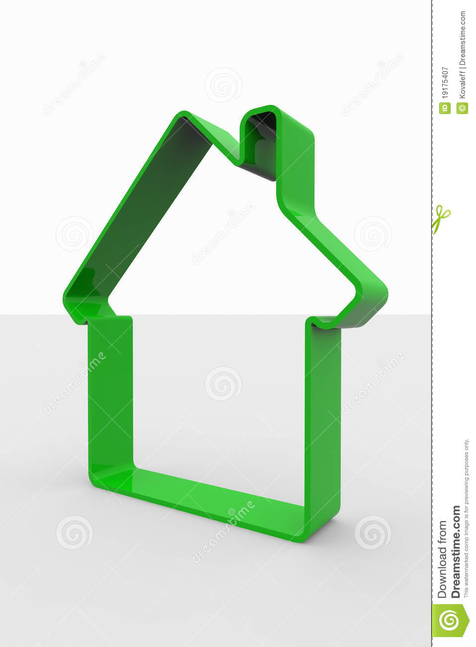 Green 3D sign of house
