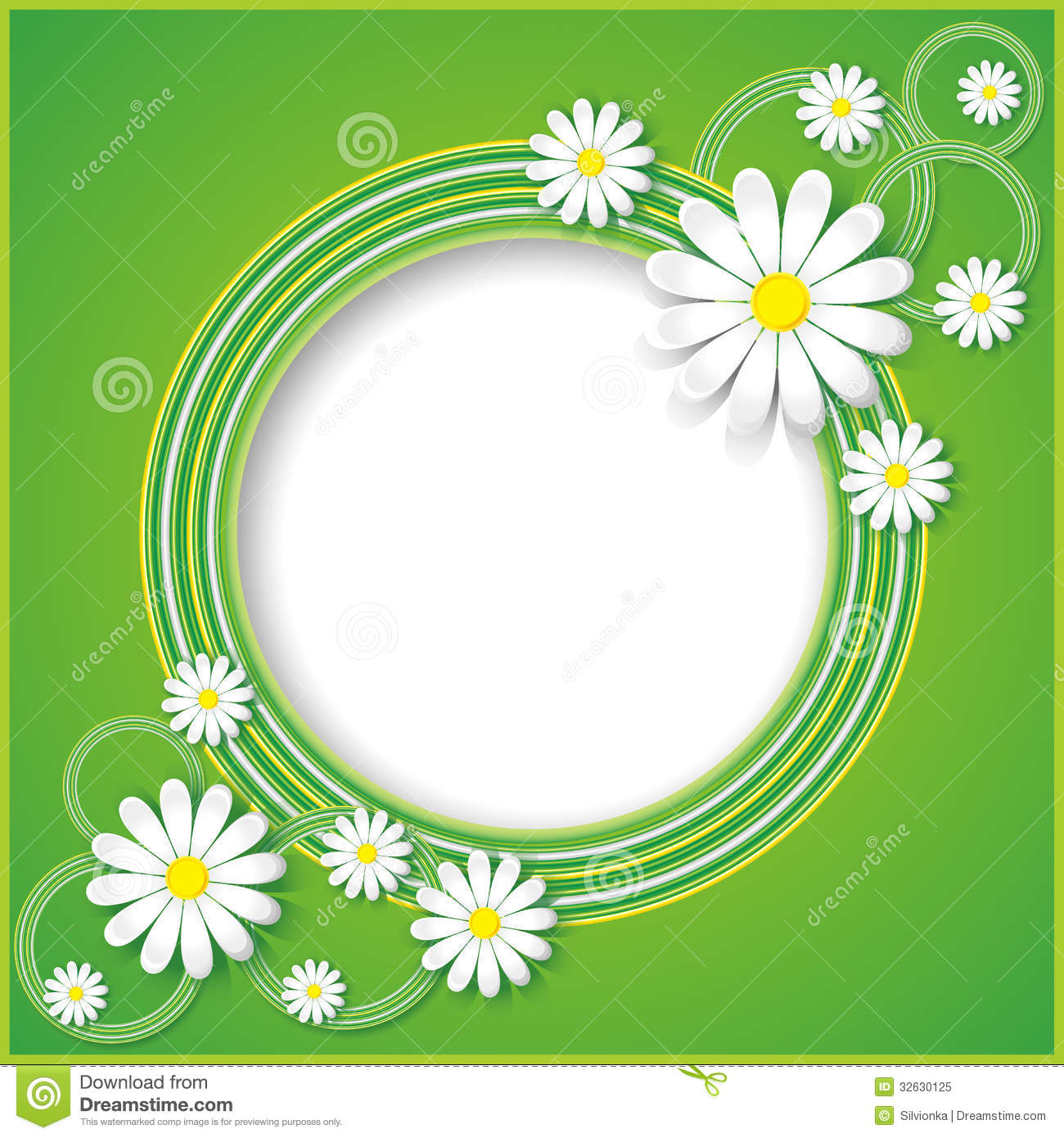 Green Abstract Background With Flowers Chamomiles Royalty