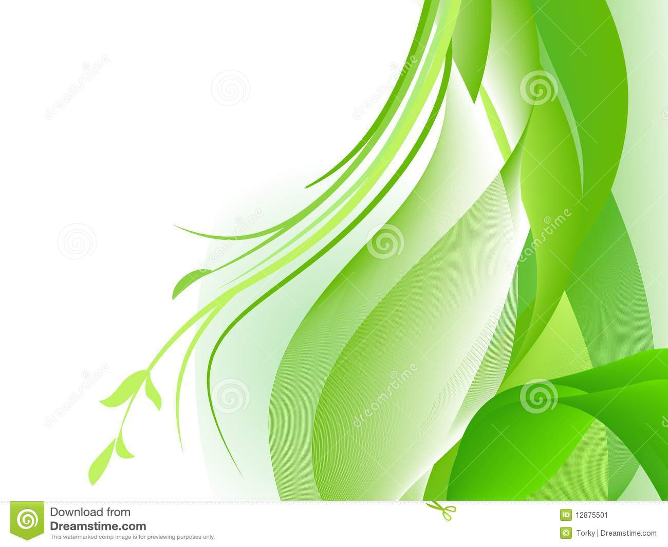 Green Abstract Design With Plants Stock Image Image