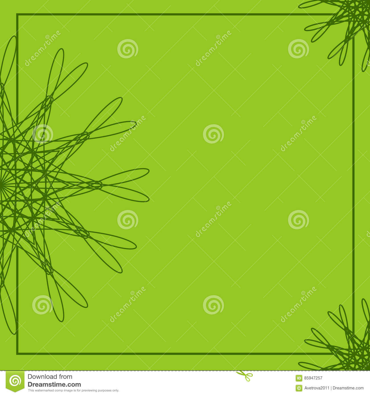 Green Abstract Floral Frame Geometric Border Template Background