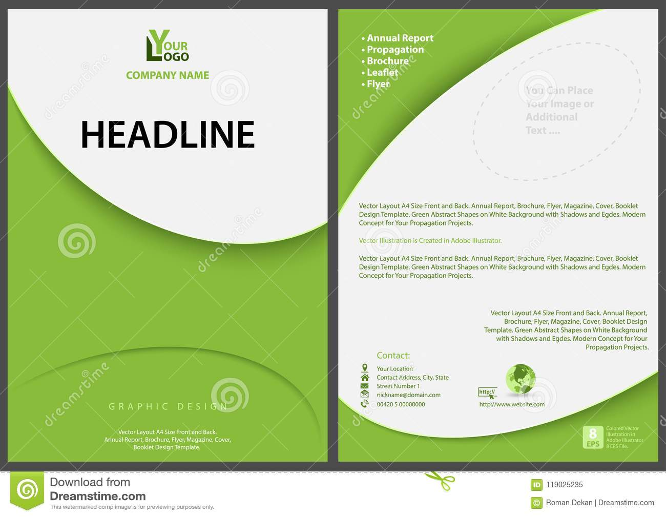 green abstract flyer template with modern simple design stock vector
