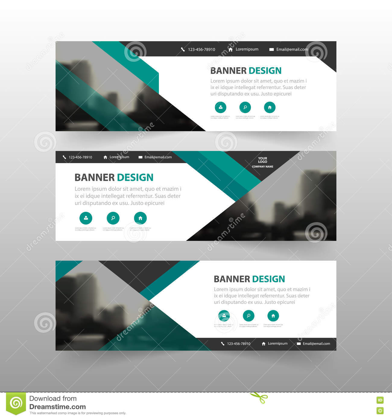 Green Abstract Triangle Corporate Business Banner Template ...