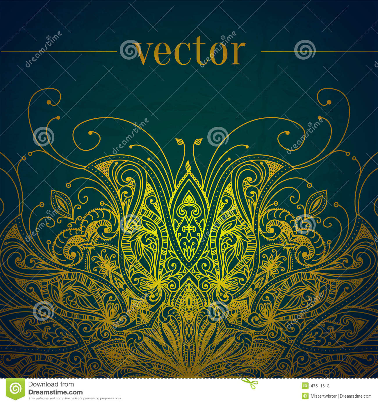 Green Abstract Vector Background. Lace Border Stock Vector ...
