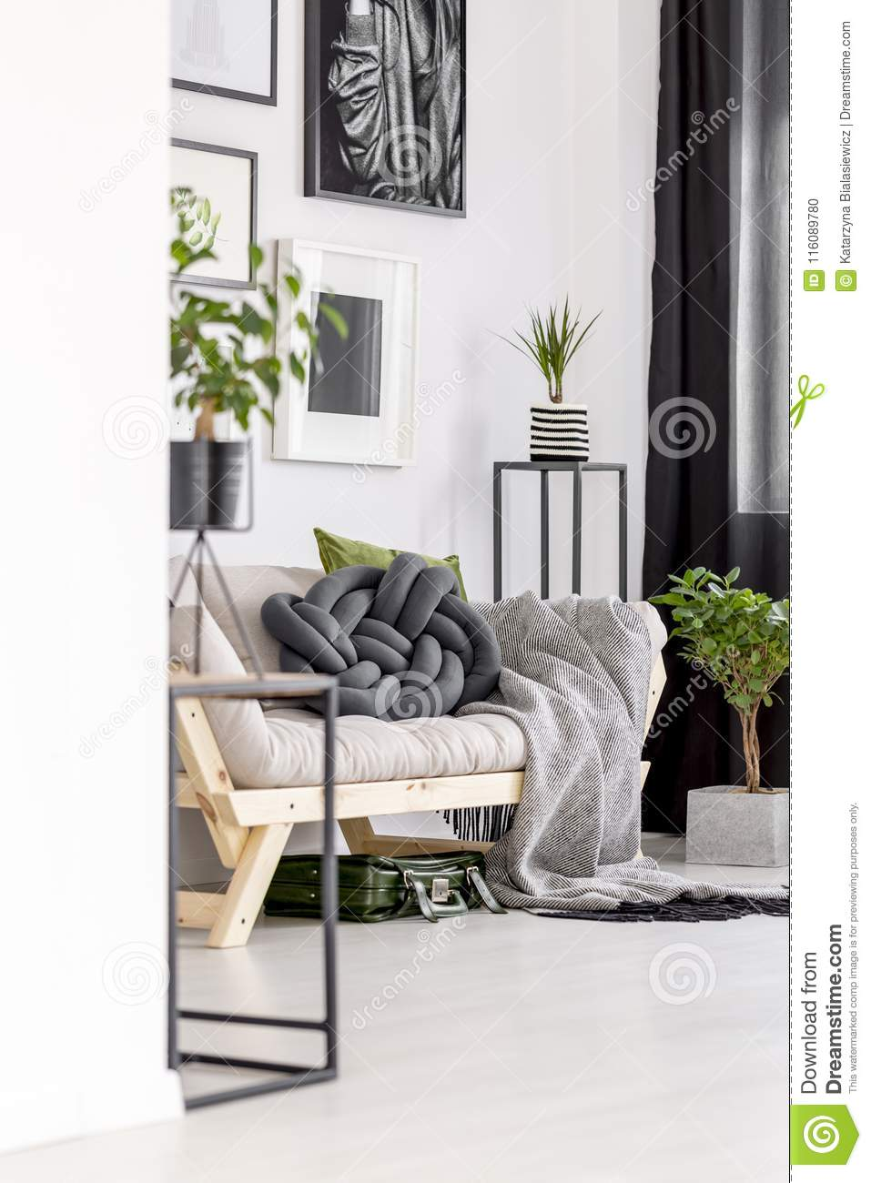 Green Accents In Living Room Stock Photo - Image of design, futon ...
