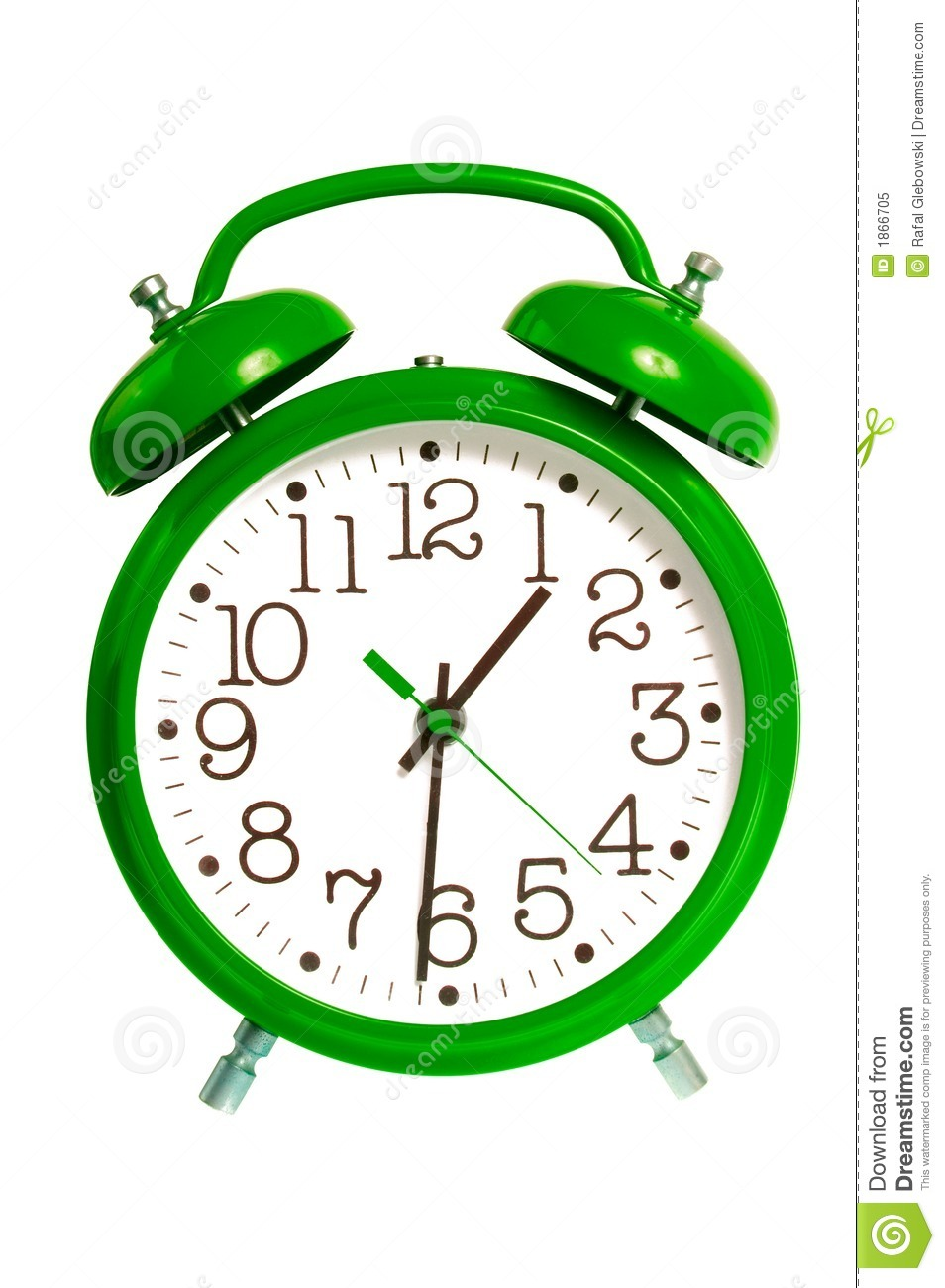 Green Alarm Clock Isolated Royalty Free Stock Photo - Image: 1866705