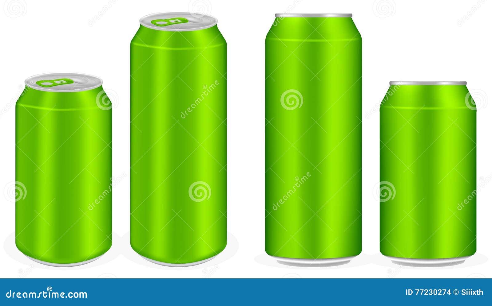 Green aluminium soft drink cans vector