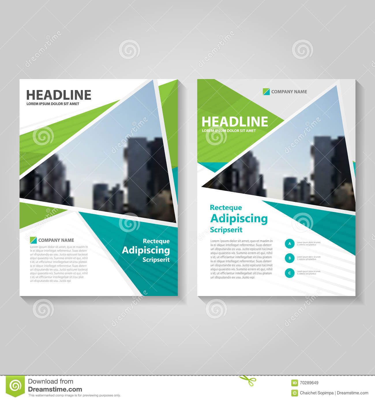 brochure cover design - green annual report leaflet brochure flyer template design