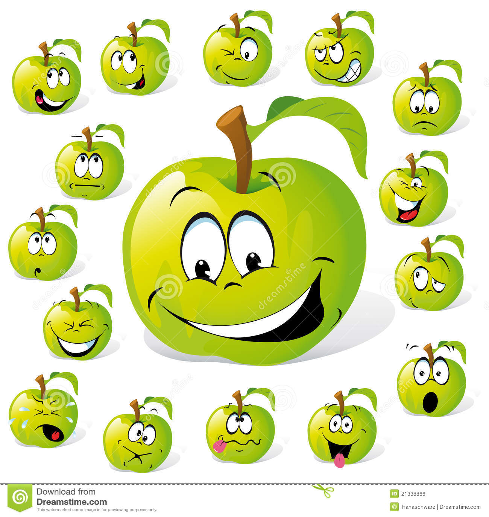 green apple cartoon royalty free stock image image 21338866 Banana Clip Art Black and White Banana Outline