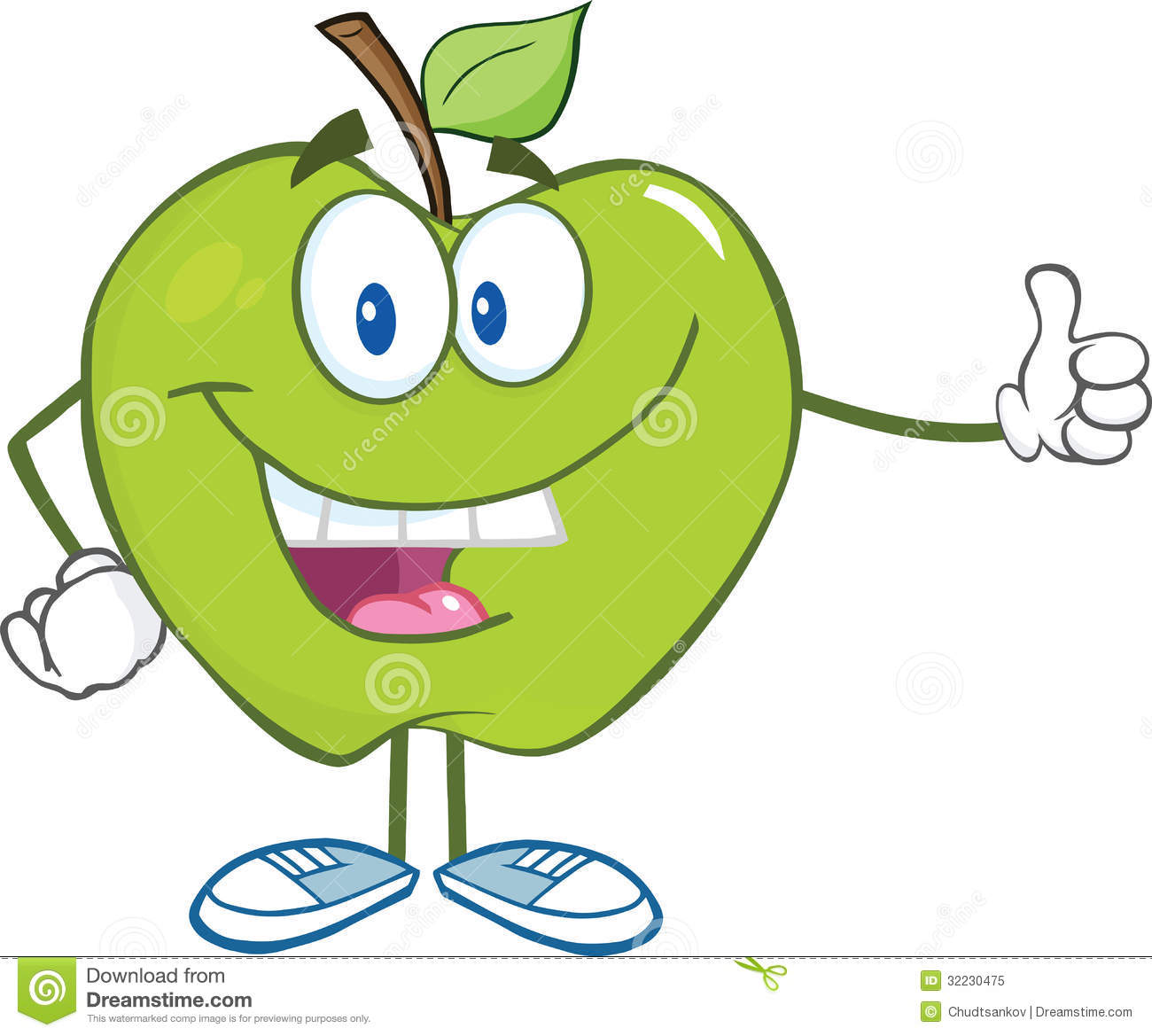 Cartoon Characters Green : Green apple cartoon character holding a thumb up royalty