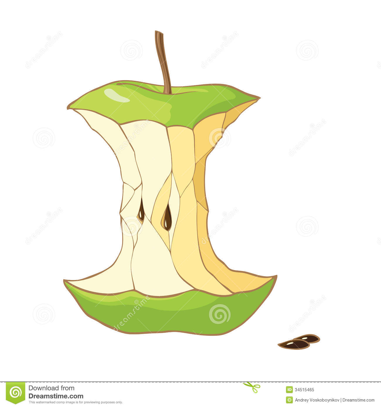 Green Apple Core Royalty Free Stock Photo - Image: 34515465