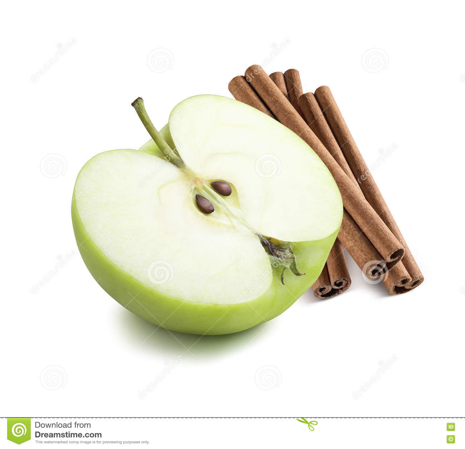 Green apple half cinnamon sticks 2 isolated