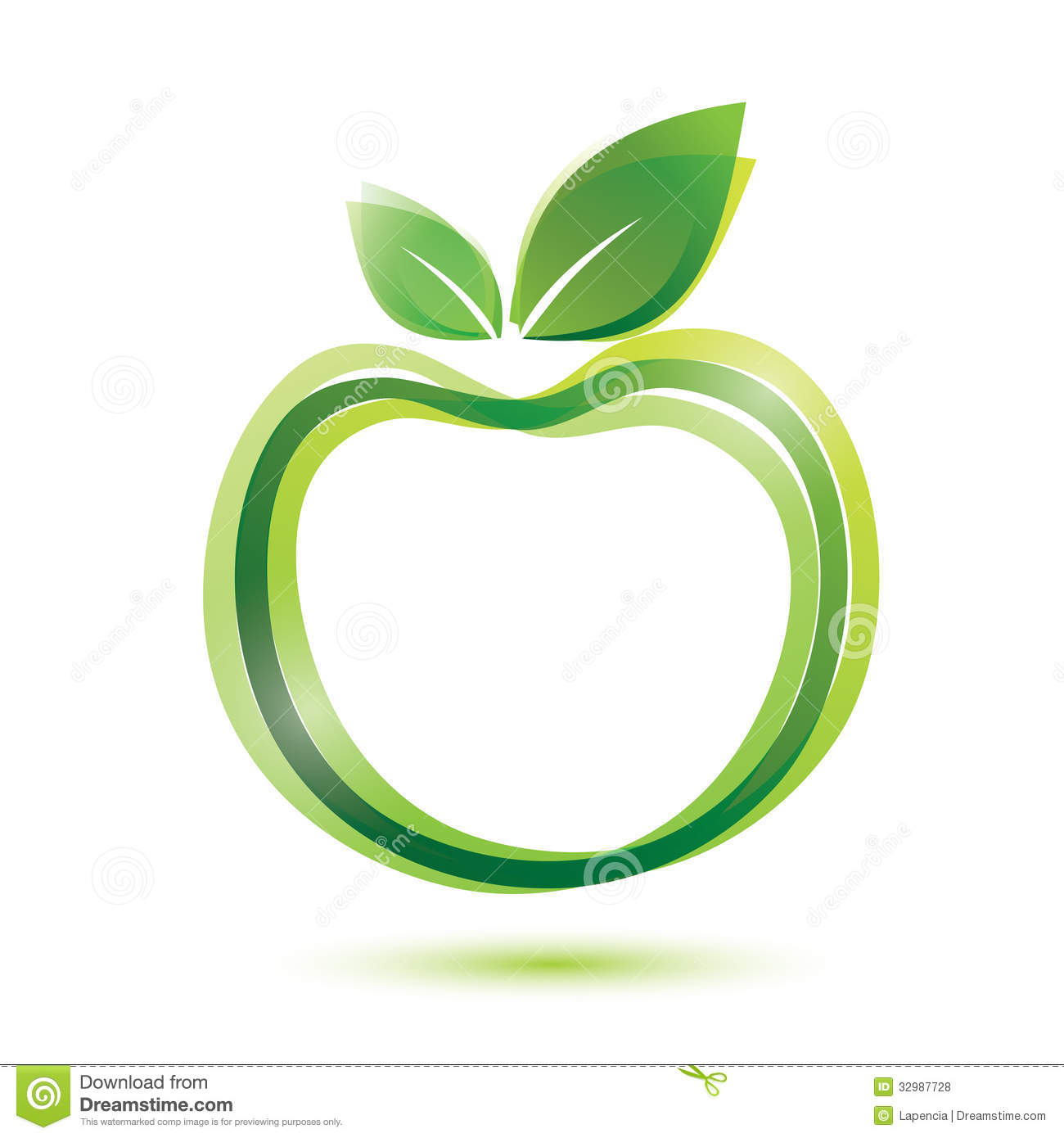green apple logo like icon stock vector illustration of nature