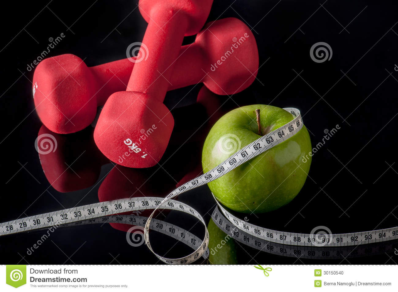 Fit stock photo image of fitness fruit dumbels