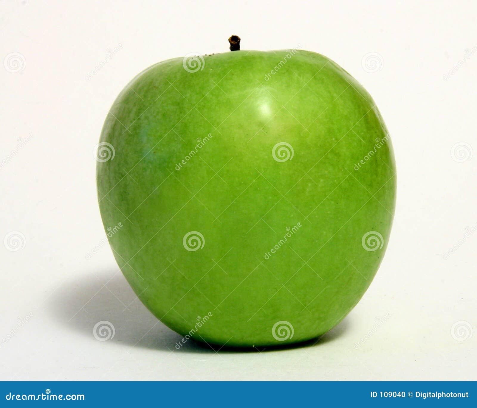Green Apple Over White