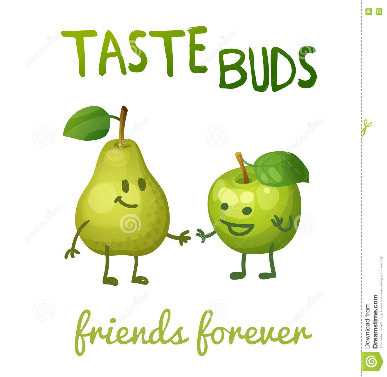 Green Apple And Pear With Leaf Characters Cartoon Illustration