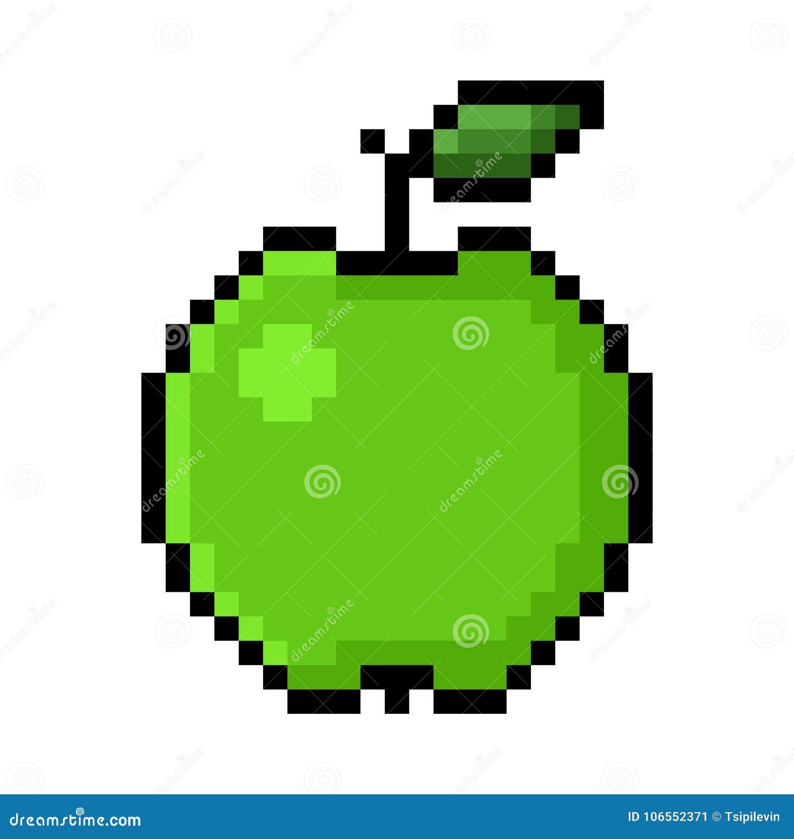 green-apple-pixel-art-big-pixels-white-background-106552371 Pixel Art Apple @koolgadgetz.com.info
