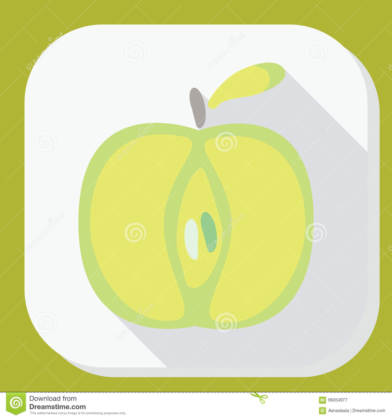 green apple sign icon with long shadow. fruit with leaf symbol