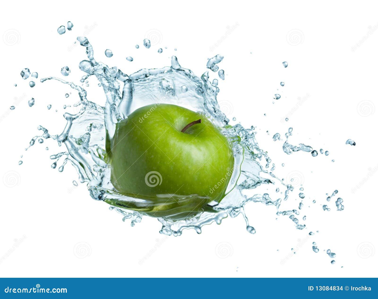 Green apple in water