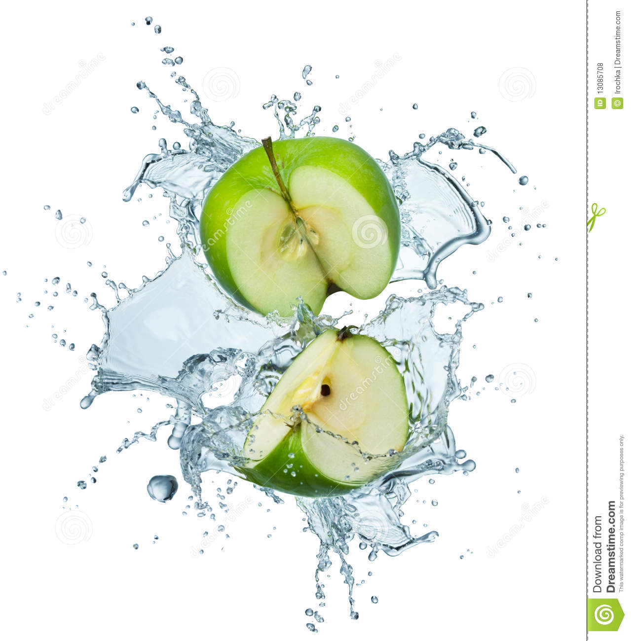 Download Green apple in water stock photo. Image of background - 13085708