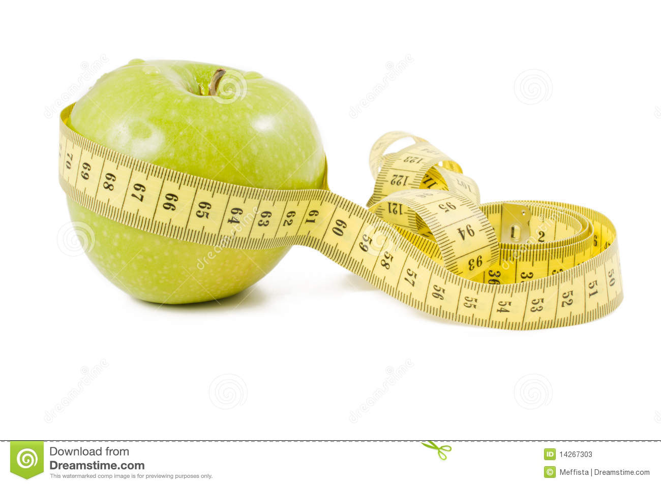 Green apple wrapped in centimetre