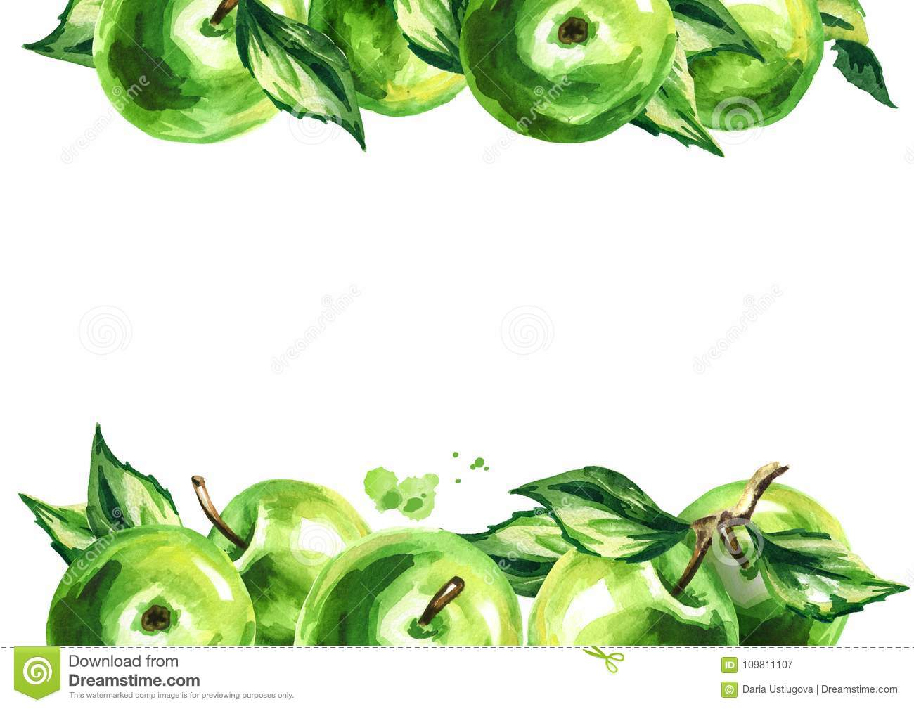 Green apples and leaves background, Watercolor hand drawn illustration