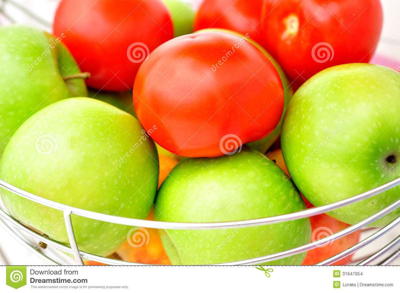 Green Apples And Red Tomatoes. Stock Images - Image: 31647954