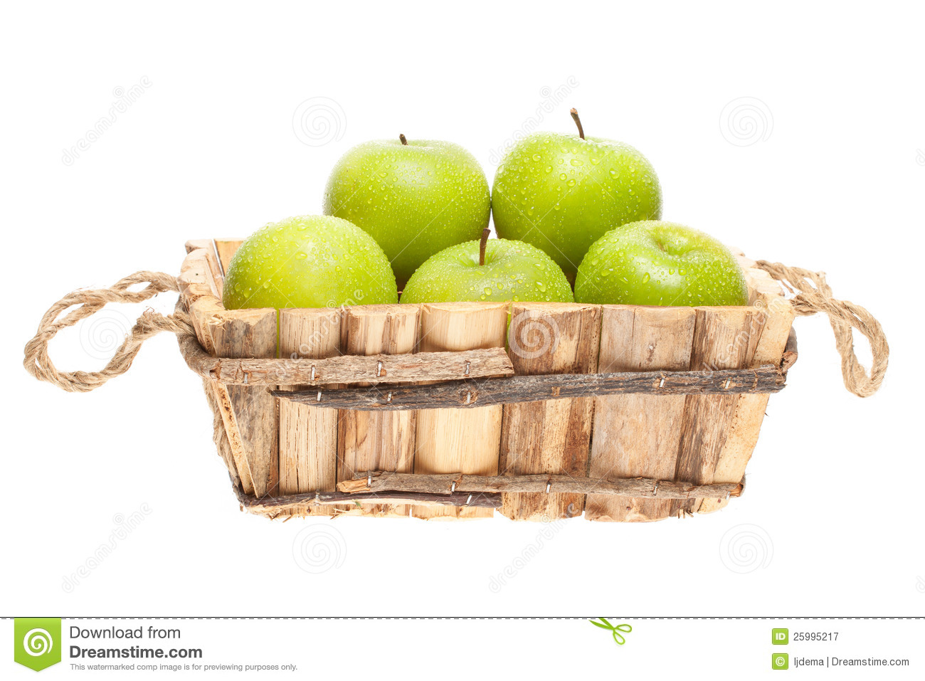 green and red apples in basket. royalty-free stock photo. download green apples in a wooden basket and red