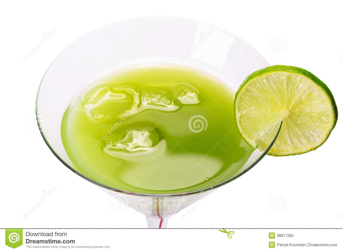 Green Appletini drink isolated over white.